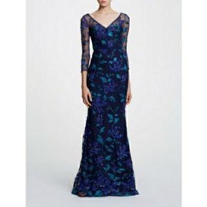 Marchesa Notte 3/4 Sleeve V-Neckline Floral Gown